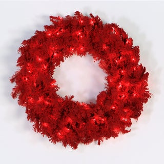 Red Flocked 24-inch Wreath with 50 Red LED Lights and 150 Tips