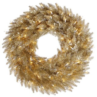 Champagne Artificial 24-inch Wreath with 50 Clear Dura-Lit Lights