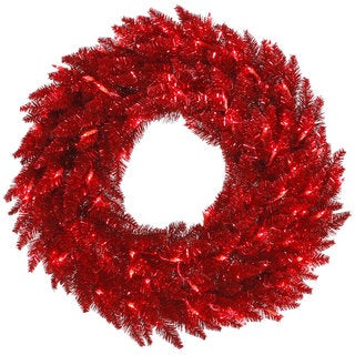 Tinsel Red Artificial 30-inch Wreath with 100 Red LED Lights