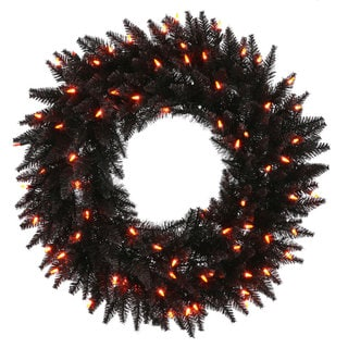 Vickerman 24-inch Black Fir Wreath with 50 Orange Dura-lit Lights