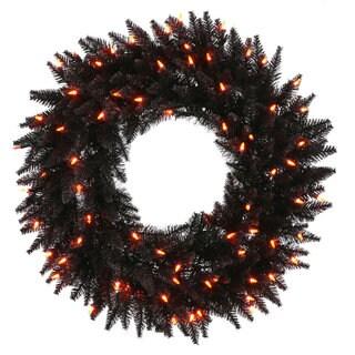 Vickerman 24-inch Black Fir Wreath with 50 Orange Dura-lit Lights