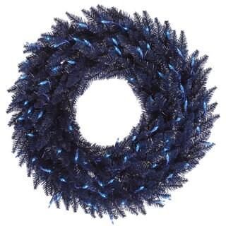 Vickerman Navy Blue 30-inch Fir Wreath with 100 Blue Dura-lit Lights and 260 Tips