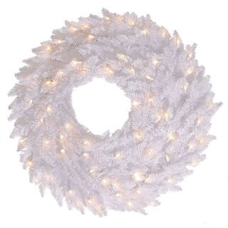 White Fir 30-inches 260 Tips Artificial Wreath With 100 White LED Lights