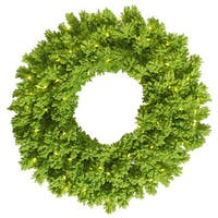 24-inch Flocked Lime Fir Wreath with 50 Lime Lights and 150 Tips