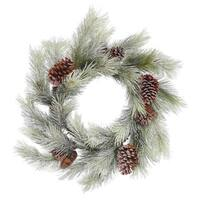 24-inch Frosted Bellevue Pine Wreath with 30 Tips
