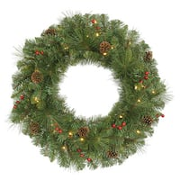 30-inch Cambridge Wreath with 50 Warm White LED Lights and 168 Tips