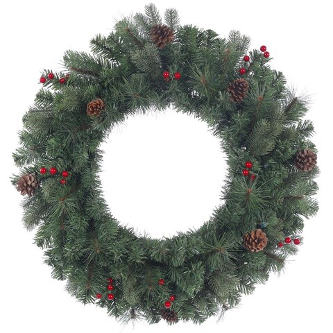 Vickerman Wesley Mixed Pine Green Branches, Red Berries, and Brown Pinecones 24-inch Artificial Wreath With 122 Tips