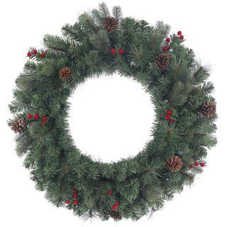 clearance vickerman wesley mixed pine green branches red berries and brown pinecones 24 inch