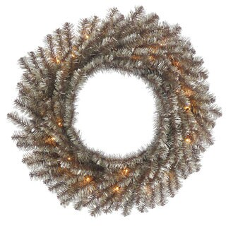 Mocha Artificial 30-inch Tinsel Wreath with 170 Tips