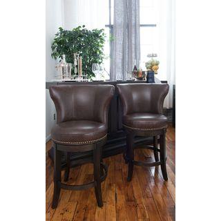 Vineyard Counter-height Barrel Bonded Leather Barstools (Set of 2)