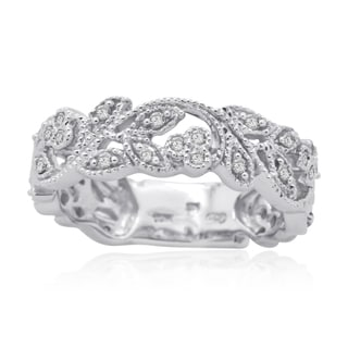 10K White Gold 1/4 CT TDW Round Diamond Filigree Fashion Band Ring