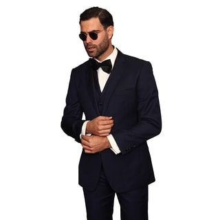 Catania Indigo Men's Blue Wool 3-piece Statement Suit Tuxedo