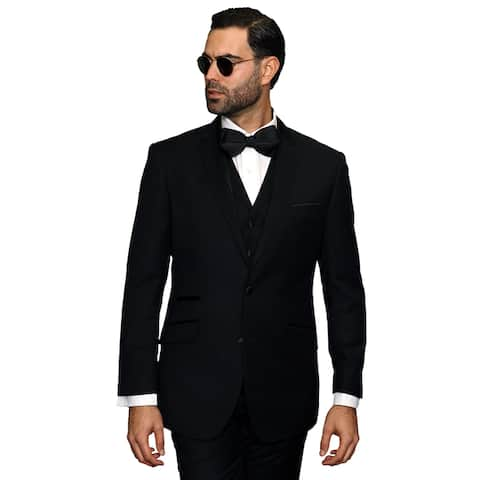 Catania Men's Black Wool 3-piece Statement Suit Tuxedo