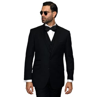 Catania Men's Black Wool 3-piece Statement Suit Tuxedo