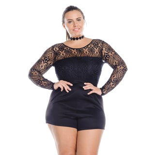 Hadari Women's Plus Size Black Long Sleeve Short Bodycon Black Romper