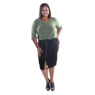 Hadari Women 2 Piece Set V-Neck 3/4 Zinched Button Sleeve Sheer Blouse and Tube Skirt with Backzip Closure and Elastic Waistline