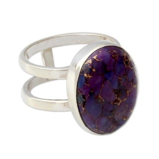 Link to Handmade Sterling Silver Purple Island Turquoise Ring (India) Similar Items in Necklaces