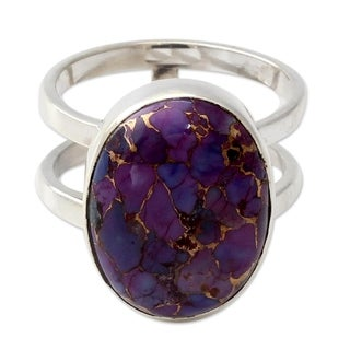 Handmade Sterling Silver 'Purple Island' Turquoise Ring (India)