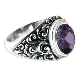 Handcrafted Sterling Silver 'Kuta Twilight' Amethyst Ring (Indonesia)
