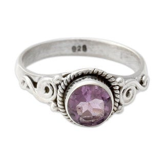 Handcrafted Sterling Silver 'Assam Orchid' Amethyst Ring (India)