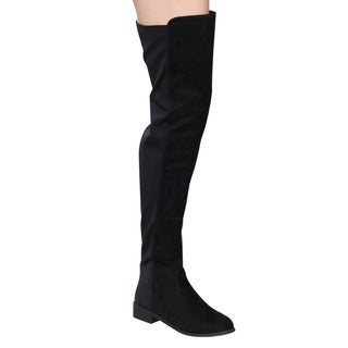 Nature Breeze FF07 Women's Two-tone Stretchy Thigh-high Low Block-heel Boots