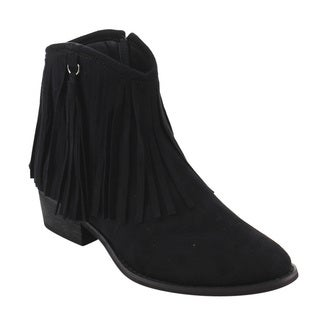 Reneeze AE17 Women's Side-zipper Fringe Low-block Heel Dressy Ankle Booties