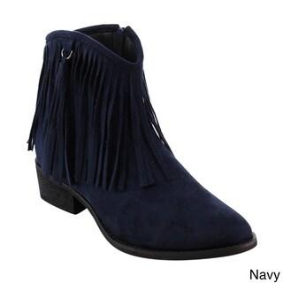 Reneeze AE17 Women's Side-zipper Fringe Low-block Heel Dressy Ankle Booties