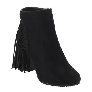 Reneeze Women's Fringe Inside Zip Stacked Chunky Heel Ankle Booties