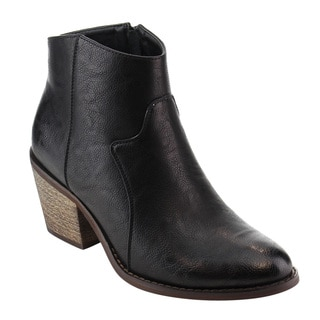 Reneeze AE00 Women's Faux-leather Distressed Inside-zipper Block-hHeel Dress Ankle Booties