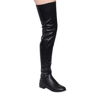 Nature Breeze FF06 Women's Black Faux Leather Stretchy Thigh-high Snug-fit Low Block-heel Boots