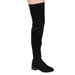 Nature Breeze FF05 Women's Stretchy Thigh-high Snug-fit Low Block Heel Boots