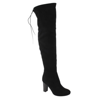 NAzure Breeze Women's Faux Suede Drawstring Over the Knee Block Heel Boots