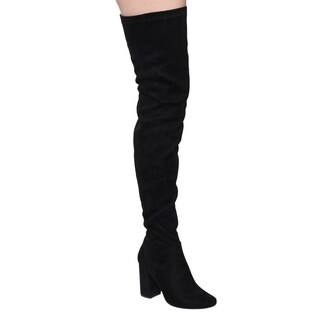 Beston Women's FF01 Faux-suede Stretchy Thigh-high Snug-fFit Chunky Block-heel Boots