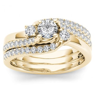 De Couer 14k Yellow Gold 3/4ct TDW Diamond Solitaire Bridal Ring Set