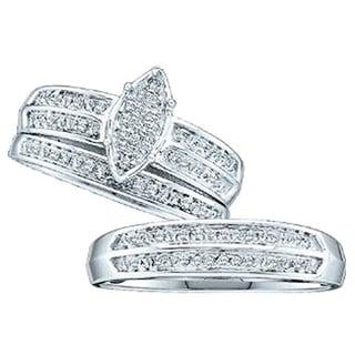 Elora 14K Gold 1/3 ct. TDW Round Cut Diamond Men & Women's Micro Pave Engagement Ring Trio Bridal Set (H-I