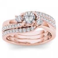 De Couer  IGI Certified 14k Rose Gold 3/4ct TDW Diamond Solitaire Bridal Ring Set - Pink