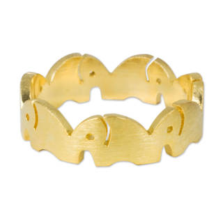 Handmade Gold Overlay 'Pachyderm Party' Ring (Thailand)