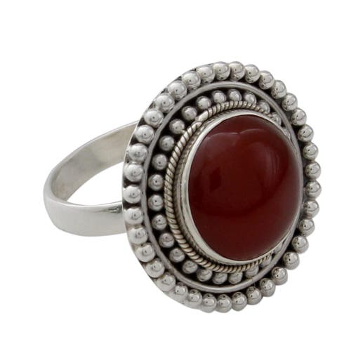 Handmade Tangerine Sunset Carnelian Sterling Silver Ring (India)