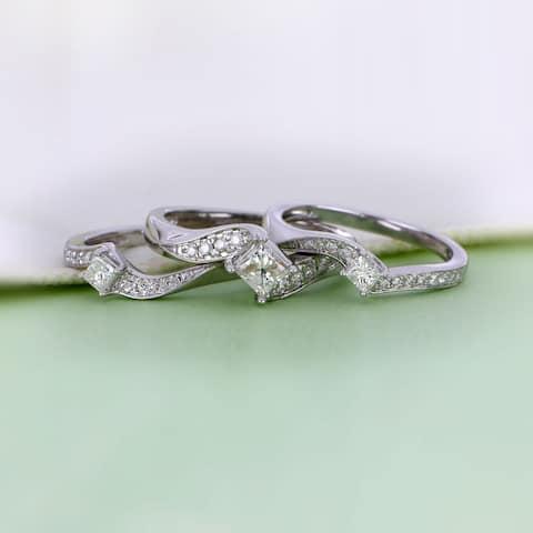 De Couer 14k White Gold 1ct TDW Diamond Bridal Ring Set - White H-I