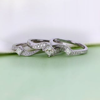 De Couer 14k White Gold 1ct TDW Diamond Bridal Ring Set - White H-I (More options available)