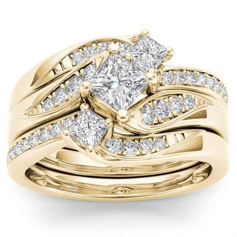 De Couer 14k Yellow Gold 1ct TDW Diamond Bridal Ring Set