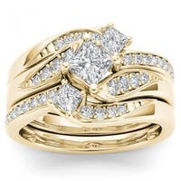 De Couer 14k Yellow Gold 1ct TDW Diamond Bridal Ring Set