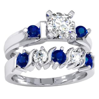 Women's 10k Gold Blue and White Sapphire 3-stone Engagement Ring and Band Set