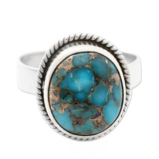 Handmade Sterling Silver 'Blue Sky in Jaipur' Turquoise Ring (India)