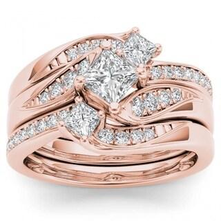 De Couer 14k Rose Gold 1ct TDW Diamond Bridal Ring Set - Pink