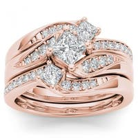 De Couer 14k Rose Gold 1ct TDW Diamond Bridal Ring Set - Pink