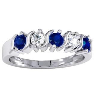 14k Gold 7/8-carat Round Blue and White Sapphire Ladies 5-stone Bridal Anniversary Wedding Band