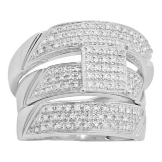 Sterling Silver Men's and Women's 5/8ct TDW Diamond Micro Pave Engagement Ring Trio Bridal Set (I-J, I2-I3)