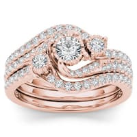 De Couer 14k Rose Gold 3/4ct TDW Diamond Solitaire Bridal Ring Set - Pink