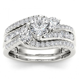 De Couer 14k White Gold 1 1/4ct TDW Diamond Bypass Bridal Ring Set (H-I, I2)